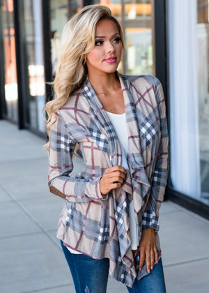 Take Me Away Plaid Elbow Patch Cardigan Mocha