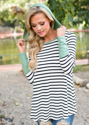 Striped Hooded Color Block Top Sage Green