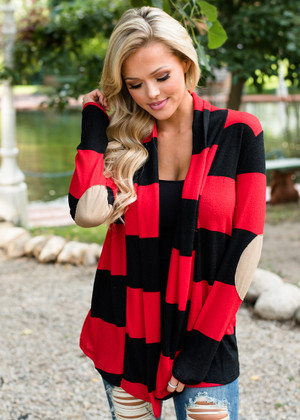 All Night Striped Cardigan Red/Black