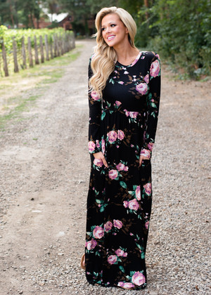 Fall Into Me Vibrant Long Sleeve Floral Maxi Dress Black