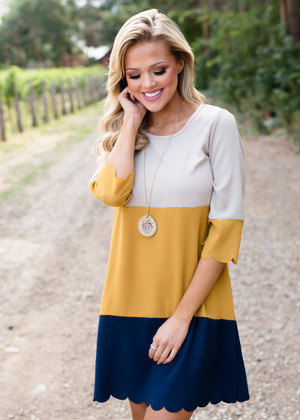 How To Be Charming Scalloped Dress Mustard