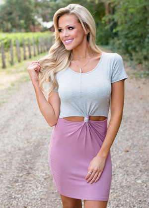 Simply Twisted Cut Out Dress Gray/Mauve