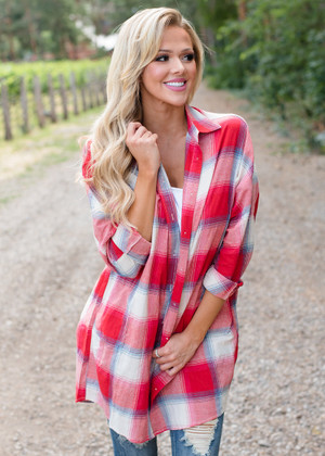 I Love You More Oversized Plaid Top Red