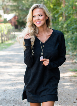 Solid Poly Spandex Sweater Tunic/Dress Black