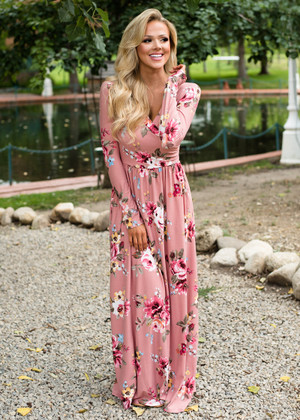 Floral Surplice Fit and Flared Maxi Mauve