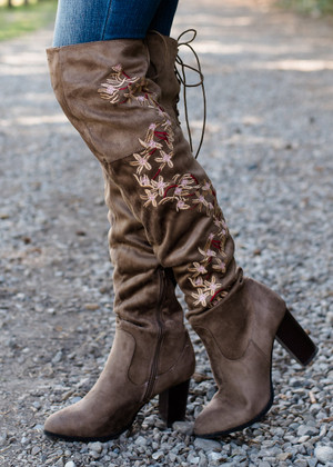 Floral Over the Knee Boots Taupe