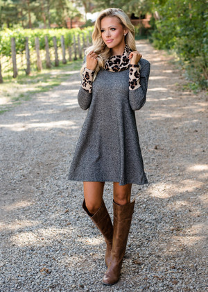 Charcoal Leopard Cowl Scarf and Cuff Dress