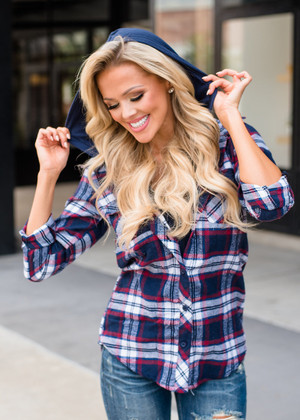 It Begins With You Plaid Zip Up Hooded Top Navy
