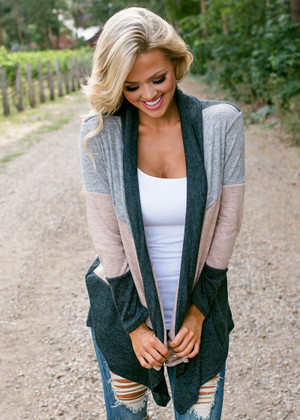 Perfect Essential Color Block Striped Cardigan