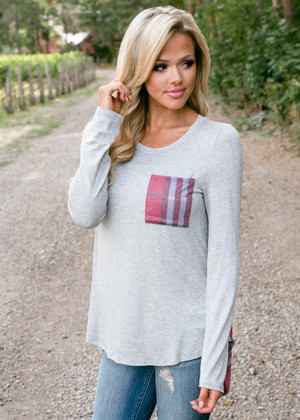 Plaid Pocket and Back High Low Top Gray/Wine