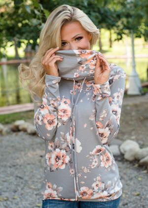 This Isn't Easy Floral Cowl Neck Top Heather Gray
