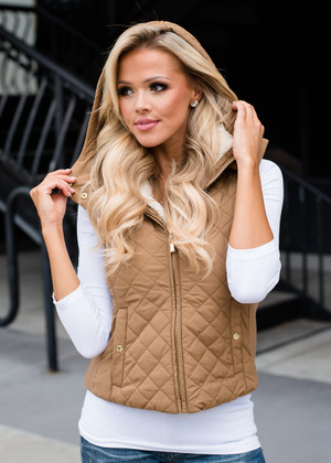 Faux Quilted Padded Hooded Vest Khaki