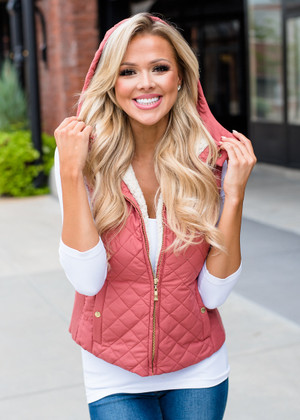 Faux Quilted Padded Hooded Vest Dusty Rose