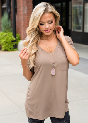Solid Roll Up Sleeve Basic Pocket Tee Taupe