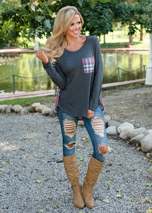Plaid Pocket and Back High Low Top Charcoal