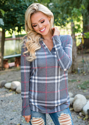 A Little Complicated Plaid Top Charcoal