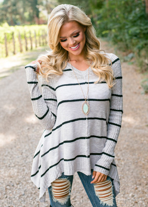 Don't Let It Go Shark Bite Style Striped Top Gray