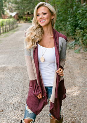 Perfect Essential Color Block Striped Cardigan Burgundy