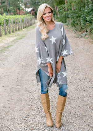 Not Quite There Star Oversized Tunic Gray