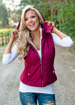 Faux Quilted Padded Hooded Vest Burgundy