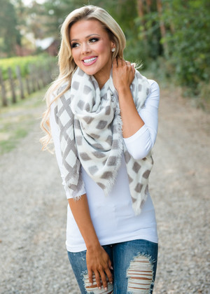 Two Toned Gingham Checkered Scarf Mocha/White
