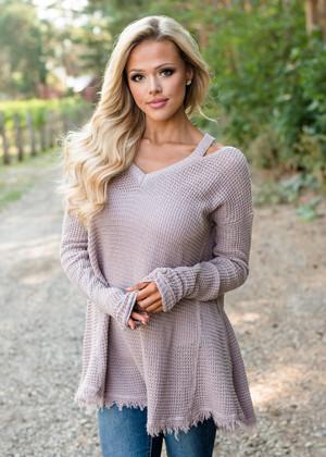 Cold Shoulder Cut Out Sweater Top Mauve