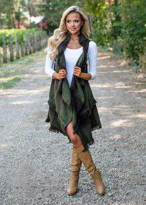 All In The Past Plaid Long Vest Olive
