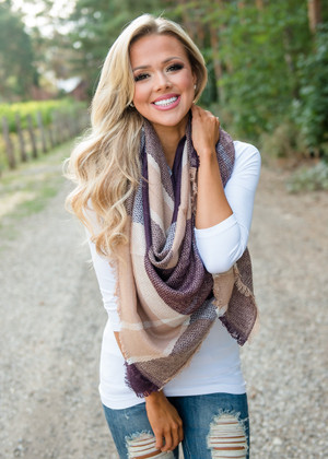 Soft Plaid Blanket Scarf Purple/Tan