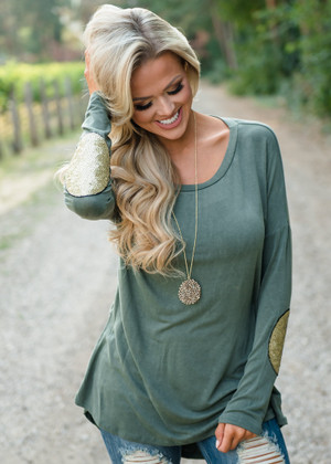 Over Again Sequin Elbow Patch High Low Top Olive