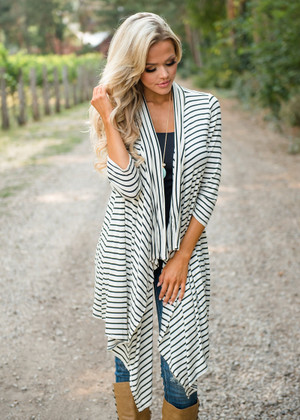 Just Notice Me Striped Ruffle Cardigan White/Black