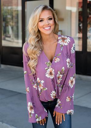Pretty in Purple Floral Belle Sleeve Drape Top