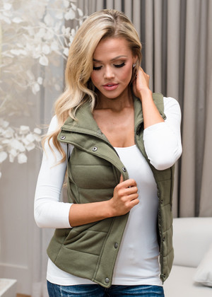 Over My Head Puffy Vest Olive