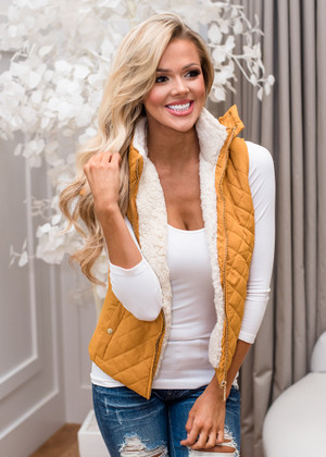 Faux Quilted Padded Hooded Vest Mustard