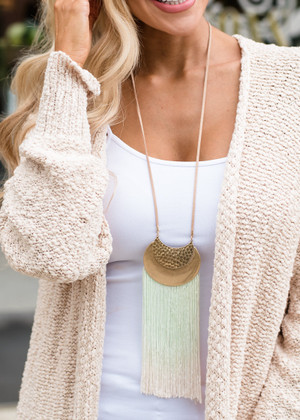 Mint and Peach Fringe Necklace