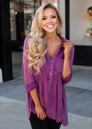 Mineral Washed Button Up Babydoll Ruffle Top Mulberry
