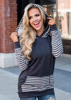 Charcoal Striped Color Block Hoodie