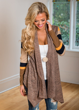 In the Middle of the Night Striped Ruffle Cardigan Mocha
