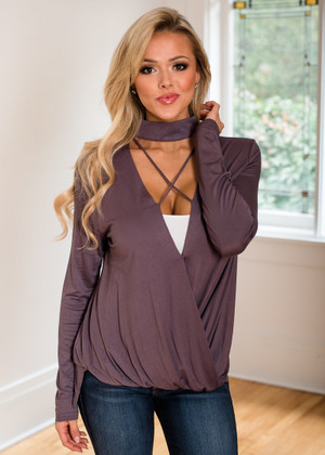 Passion For Criss Cross Drape Top Charcoal
