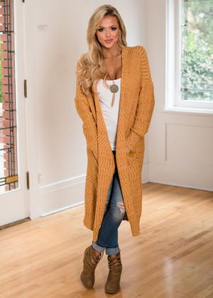So Good Long Sweater Knit Cardigan Mustard