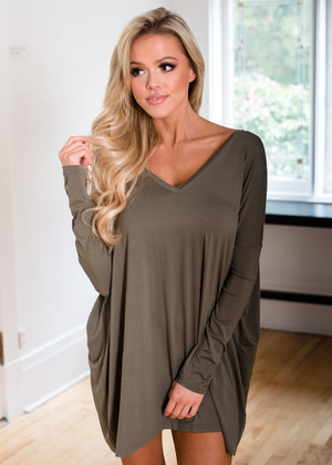 Perfect Intentions Piko Bamboo Dress Olive