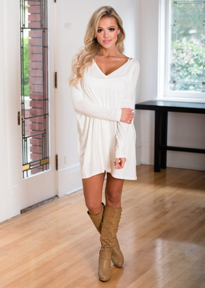 Perfect Intentions Piko Bamboo Dress White