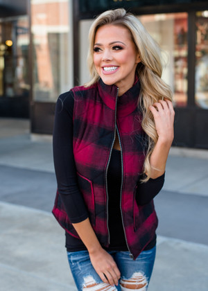 Plaid Pocket Zip Up Vest Burgundy