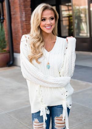 Beautiful Knit Lace Up Sweater Ivory