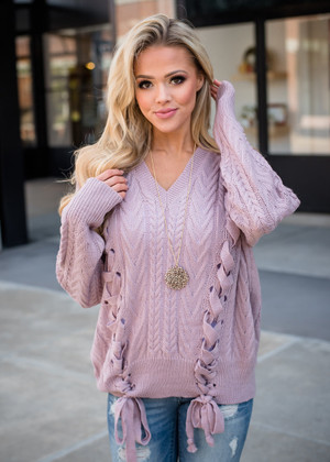 Beautiful Knit Lace Up Sweater Mauve