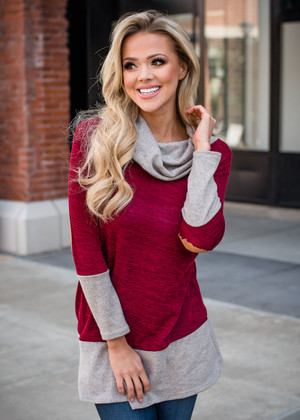 Color Block Cowl Neck Elbow Patch Tunic Burgundy