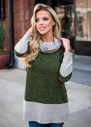 Color Block Cowl Neck Elbow Patch Tunic Olive