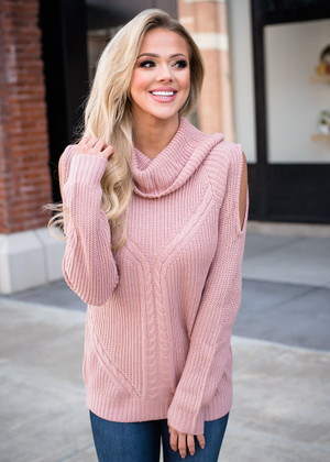Beautiful Cowl Neck Peek a Boo Shoulders Knit Sweater Lt Pink