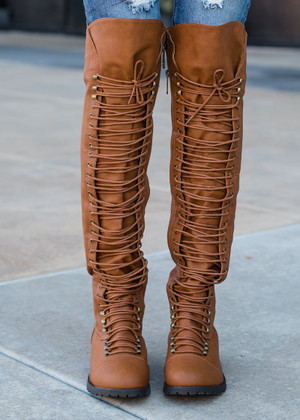 Laced Up and Ready Combat Boots Tan
