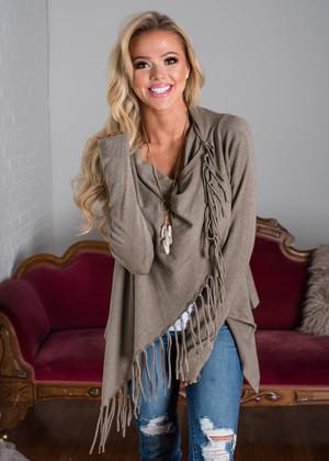 Asymmetrical Soft Knit Fringed Wrap Top Mocha
