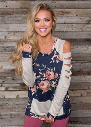 Unforgettable Floral Cutout Sleeve Top Navy